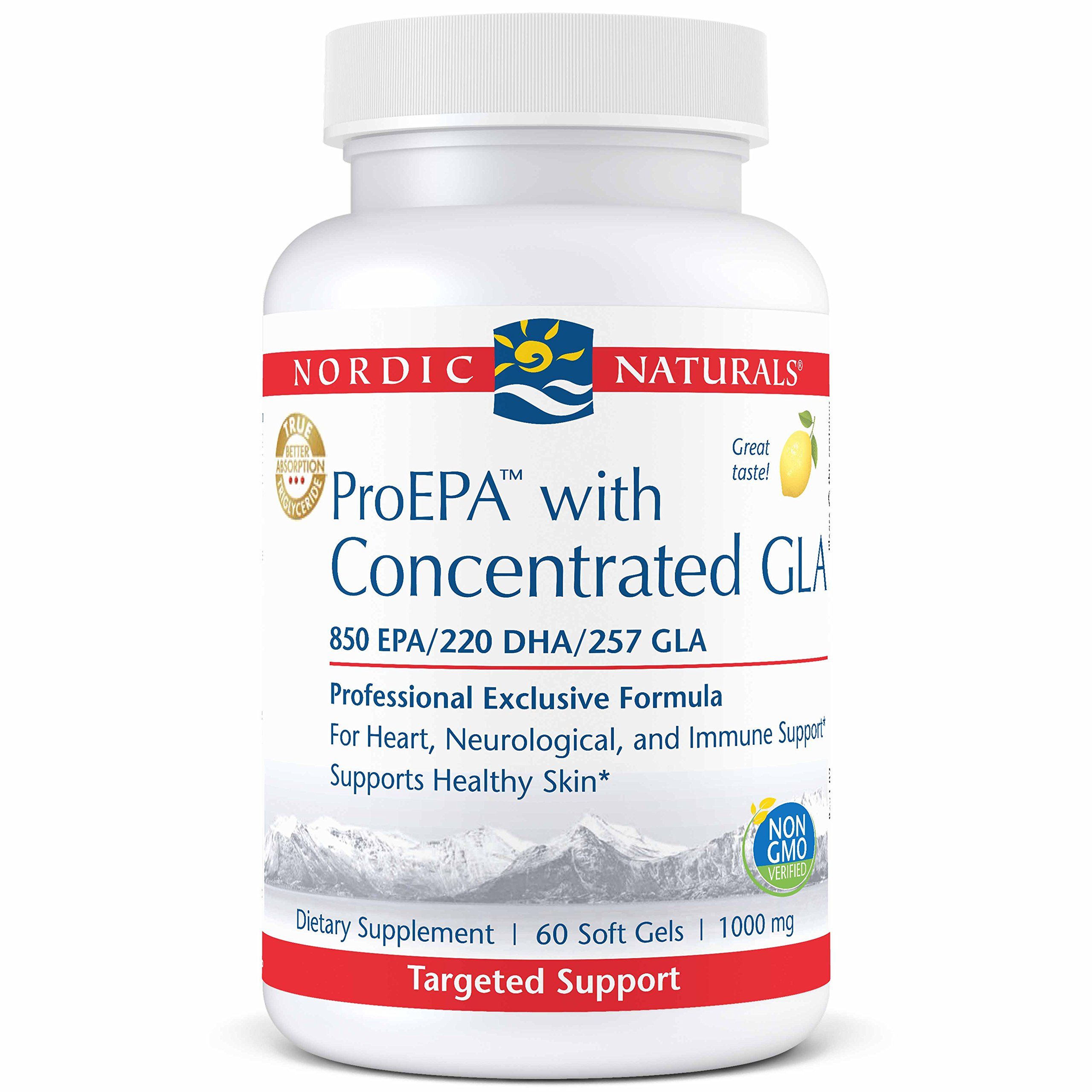 Nordic Naturals ProEPA with Concentrated GLA - Fish Oil, Borage Oil, 850 mg EPA, 220 mg DHA, 257 mg GLA, for Cardiovascular, Neurological, Joint, Skin, and Immune Health, 60 Soft Gels