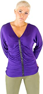 product image for Bullet Blues Women's Lucille - V Neck Scoop Back Long Sleeve Top