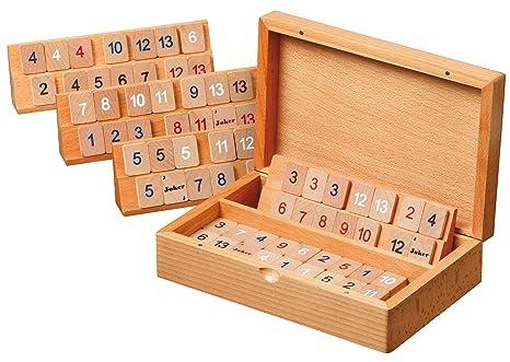 Philos 3608 - Juego de estrategia Rummy en caja de madera (pequeño, cierre magnético