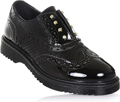 CULT Chaussure à l'anglaise noire en cuir et vernis, avec