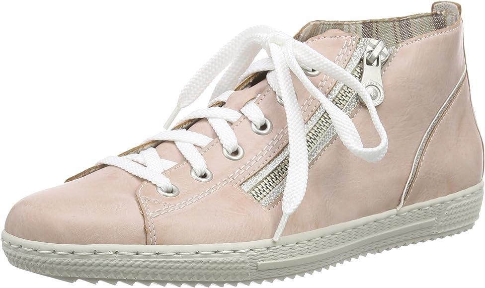 Rieker L9413, Baskets Hautes Femme, Rose (RoseWhite Silver