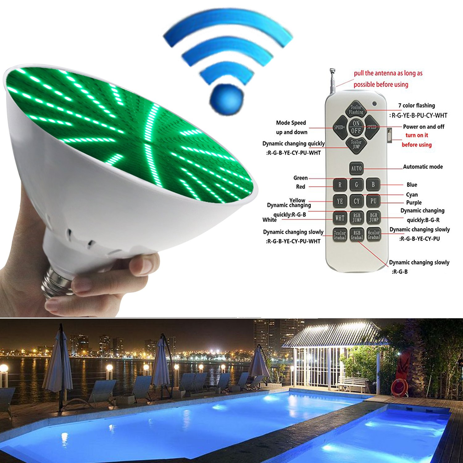 Swimming LED Underwater Light 120V 35W RGB Color Changing LED Pool Light Bulb E26/E27 Replacement for Inground Pool with Switch Remote Control Light Fixture by Bentolin (Image #6)