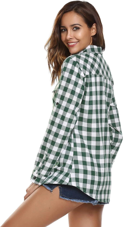 UNibelle Donna Camicia a Quadri a Maniche Lunghe Stile di Boyfriend Camicetta Comoda per Primavera Autunno Inverno S-XXL