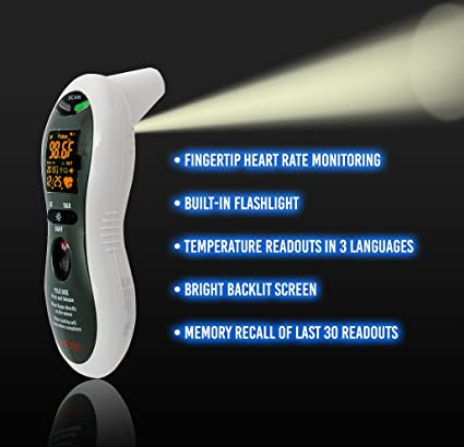 Amazon.com: Mobi Ultra Pulse Ear and Forehead Talking Digital Thermometer with Pulse Rate Monitor, Flashlight, Ear Thermometer, Forehead Thermometer, ...