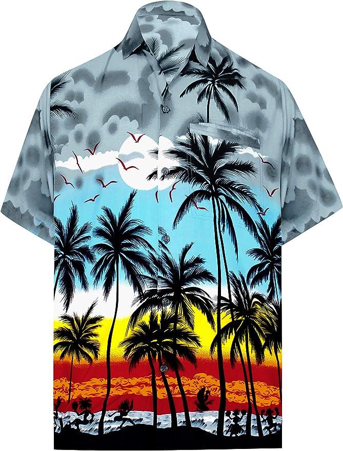 LA LEELA | Funky Camisa Hawaiana | Señores | XS-7XL | Manga Corta | Bolsillo Delantero | impresión De Hawaii | Playa |diferentes colores | para la Playa Fiestas, Verano y Vacaciones