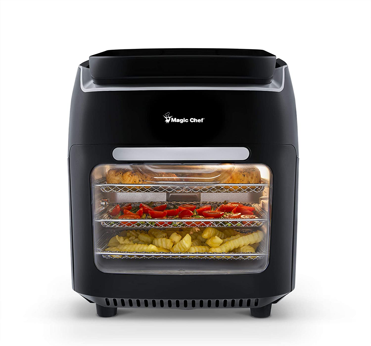 Magic Chef Air Fryer Oven 10.5 Quart Digital Display Airfryer, Convection Toaster, Dehydrator, and Rotisserie, MAF105BKD0 Black, Medium