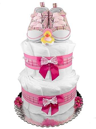 Amazon.com: Pañal para tarta de una niña – Rosa Botitas 5 ...