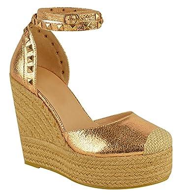 Ladies Womens High Heel Stud Wedge Frill Sandal Summer Platform Espadrilles Size