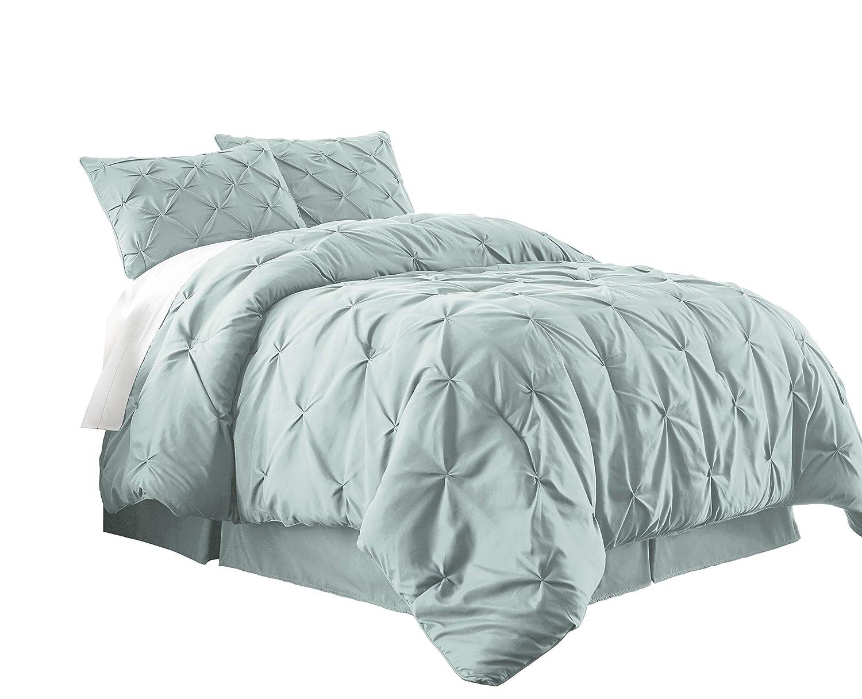 Chezmoi Collection Berlin 3-Piece Pintuck Pinch Pleat Bedding Comforter Set (King, Seafoam Green)