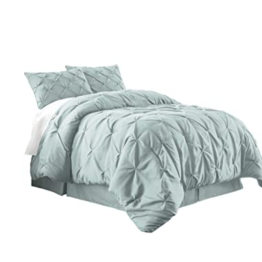 Chezmoi Collection Berlin 3-Piece Pintuck Pinch Pleat Bedding Comforter Set (Queen, Seafoam Green)