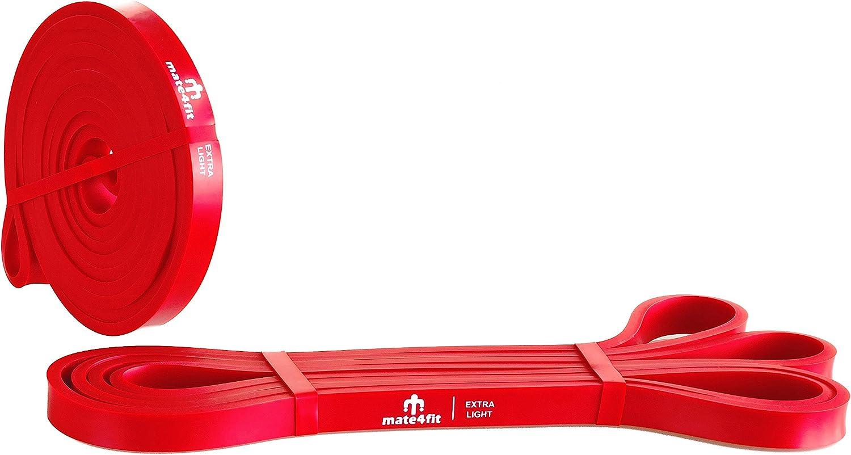 Fitnessb/änder /& Theraband aus Latex Gummi F/ür Fitness Crossfit Calisthenics Freeletics /& Home Workout Mate4fit Resistance Bands Fitnessb/änder und Klimmzug Trainings-Band f/ür Damen und Herren