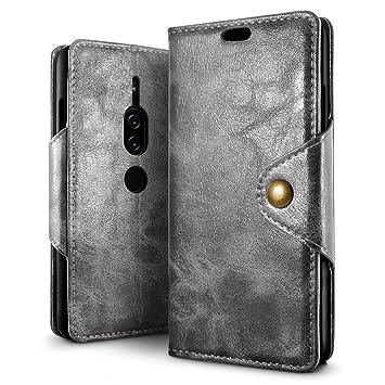544ea31437 Xperia XZ2 Premiumケース【SLEO】クラシックレトロ 全面保護ケース カード収納 PUレザー