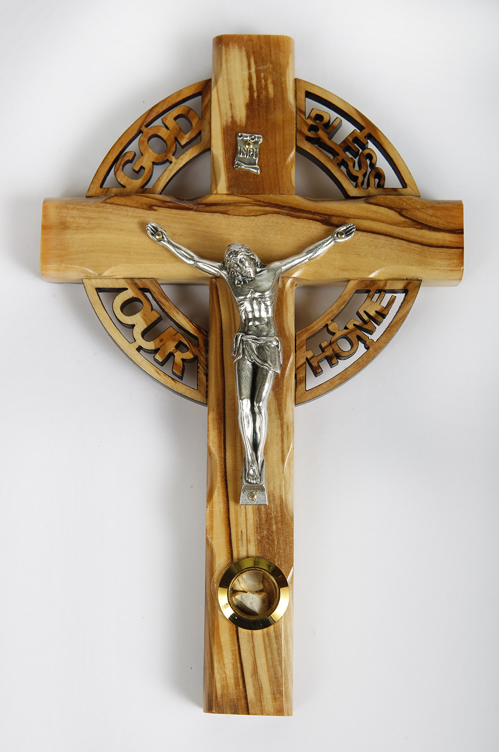 Olive Wood Crucifix / Wall Cross adorned with stones from Jerusalem and the words ''GOD BLESS OUR HOME'' Hand Craftedi n Bethlehem An Ideal Religious Gift for Christmas or any other Christian Holiday