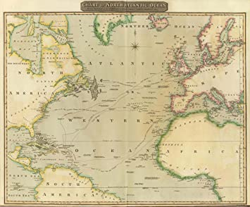 Amazon 1817 world atlas chart of north atlantic ocean with 1817 world atlas chart of north atlantic ocean with tracks of the shipping to west gumiabroncs Image collections