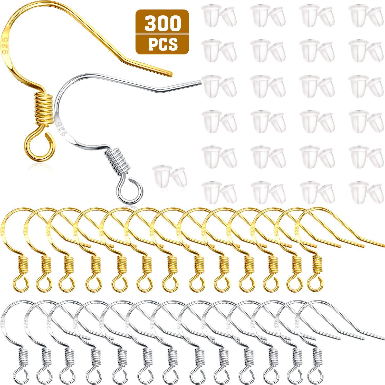 Hicarer 300 Pezzi Orecchini Gancio Pesce Ganci Filo Francese Ganci in Oro e Argento con 300 Pezzi Orecchini Posteriori per Gioielli Fabricazione Fai da Te