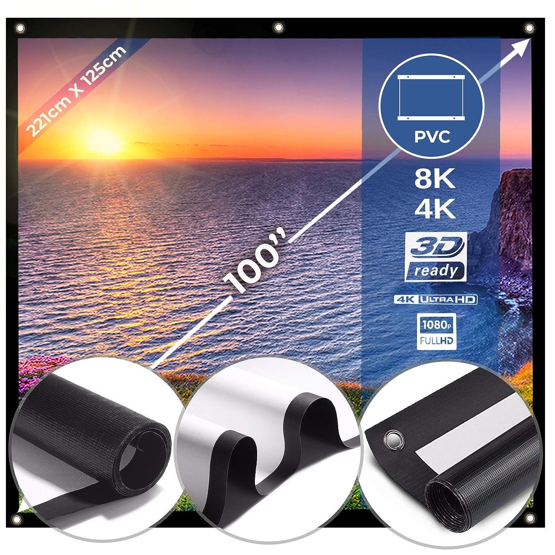 Pantalla de Proyector Plegable y Portátil - Lienzo Blanco, PVC, 100 Pulgadas - Compatible con proyectores de cine en casa, salas de conferencias, ...