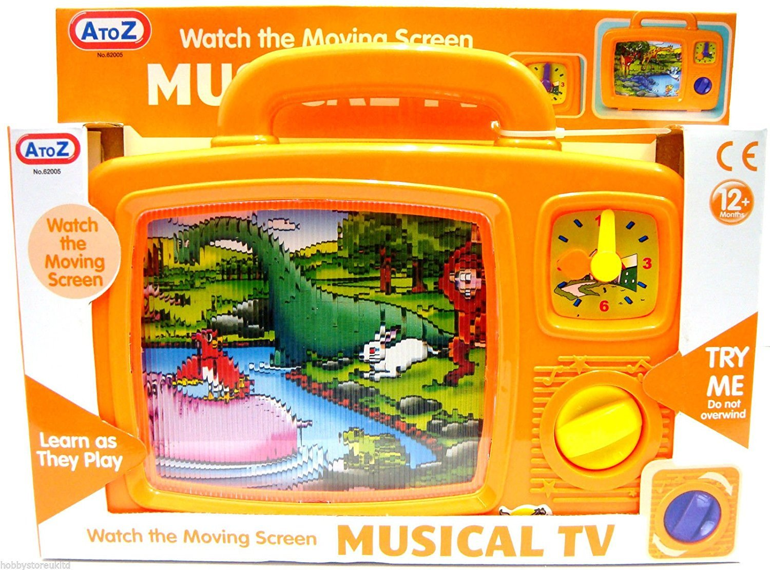 Holland Plastics Original Brand Magic Musical TV - Classic Wind Up Toddlers Moving Television Toy!!