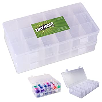 Pack of 2 Plastic Storage Box with 18 Compartments and Adjustable Dividers Clear Organizer Boxes for  sc 1 st  Amazon.com & Amazon.com: Pack of 2 Plastic Storage Box with 18 Compartments and ...