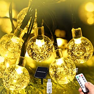 TEPENAR Solar String Lights Outdoor Indoor - USB and Solar Powered Crystal Globe Lights with Remote Control 36Ft 60 LED 8 Modes 0.7inch Fairy Light for Christmas Garden Yard Patio Decoration