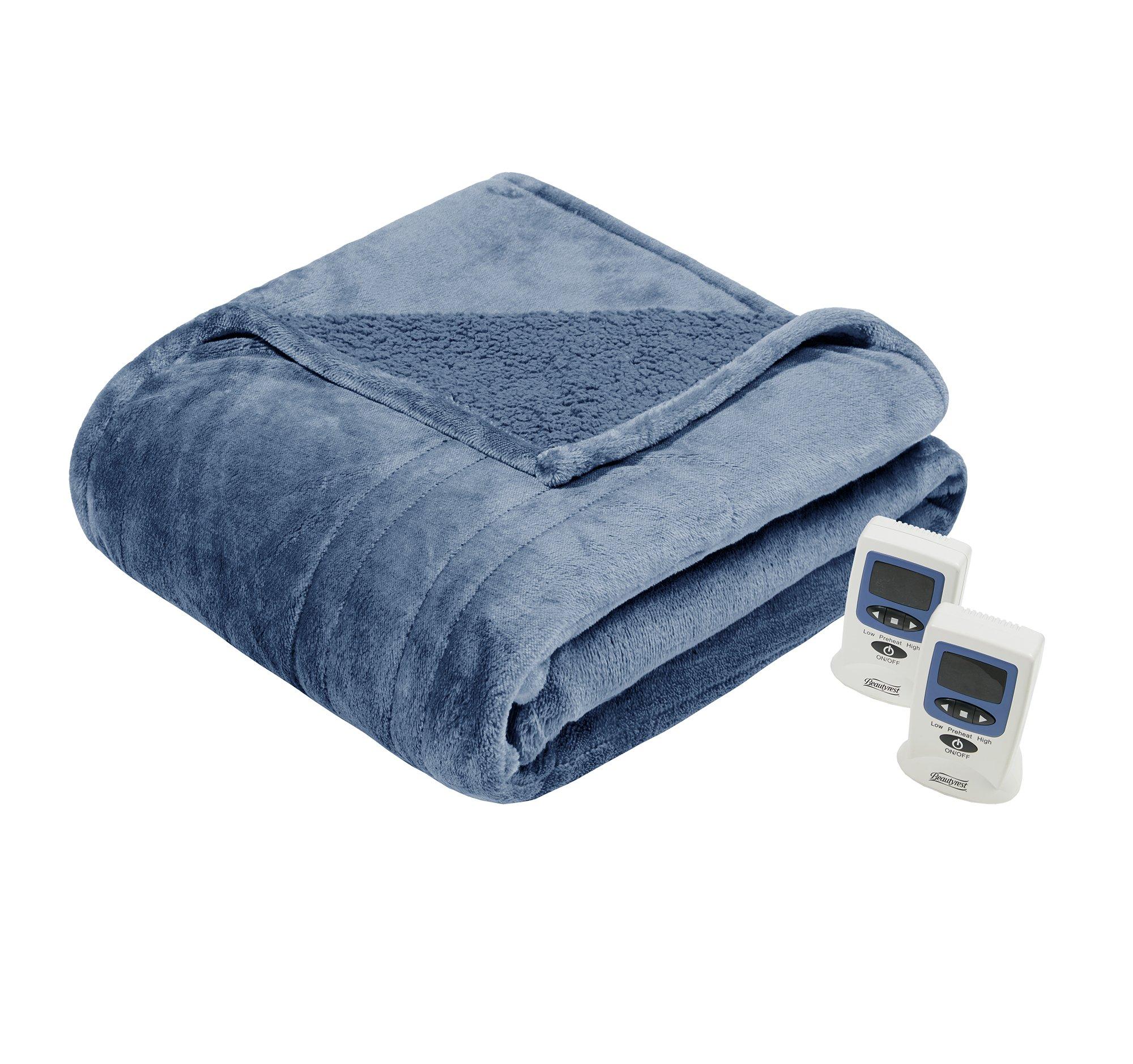 Beautyrest Solid Microlight/Berber Heated Blanket, Full, Sapphire