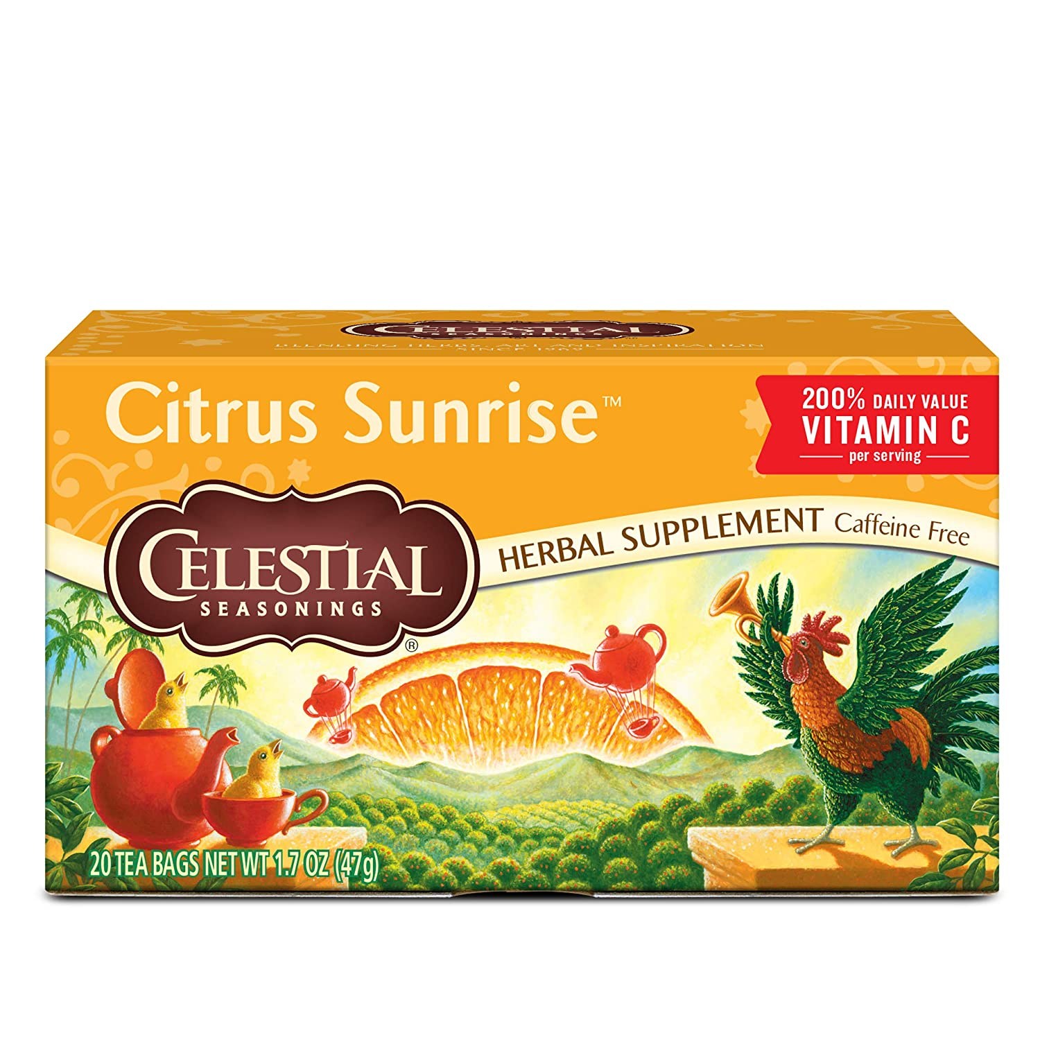 Celestial Seasonings Herbal Tea, Citrus Sunrise, 20 Count Box, Pack of 6,(Packaging may Vary)