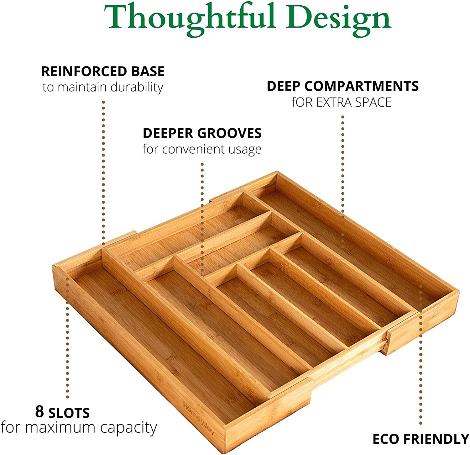 Expandable 100/% Bamboo Cutlery Kitchen Drawer Organizer Bamboo Silverware Drawer Organizer Premium Wooden Utensil//Cutlery Tray for Kitchen Flatware Set Eco-Friendly Silverware Organizer