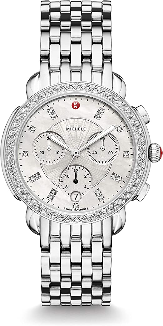 Amazon.com: Michele Sidney One Hundred Seventeen Diamonds Swiss Chronograph  Mother of Pearl Dial Silver Tone Women's Watch MWW30A000001: Watches