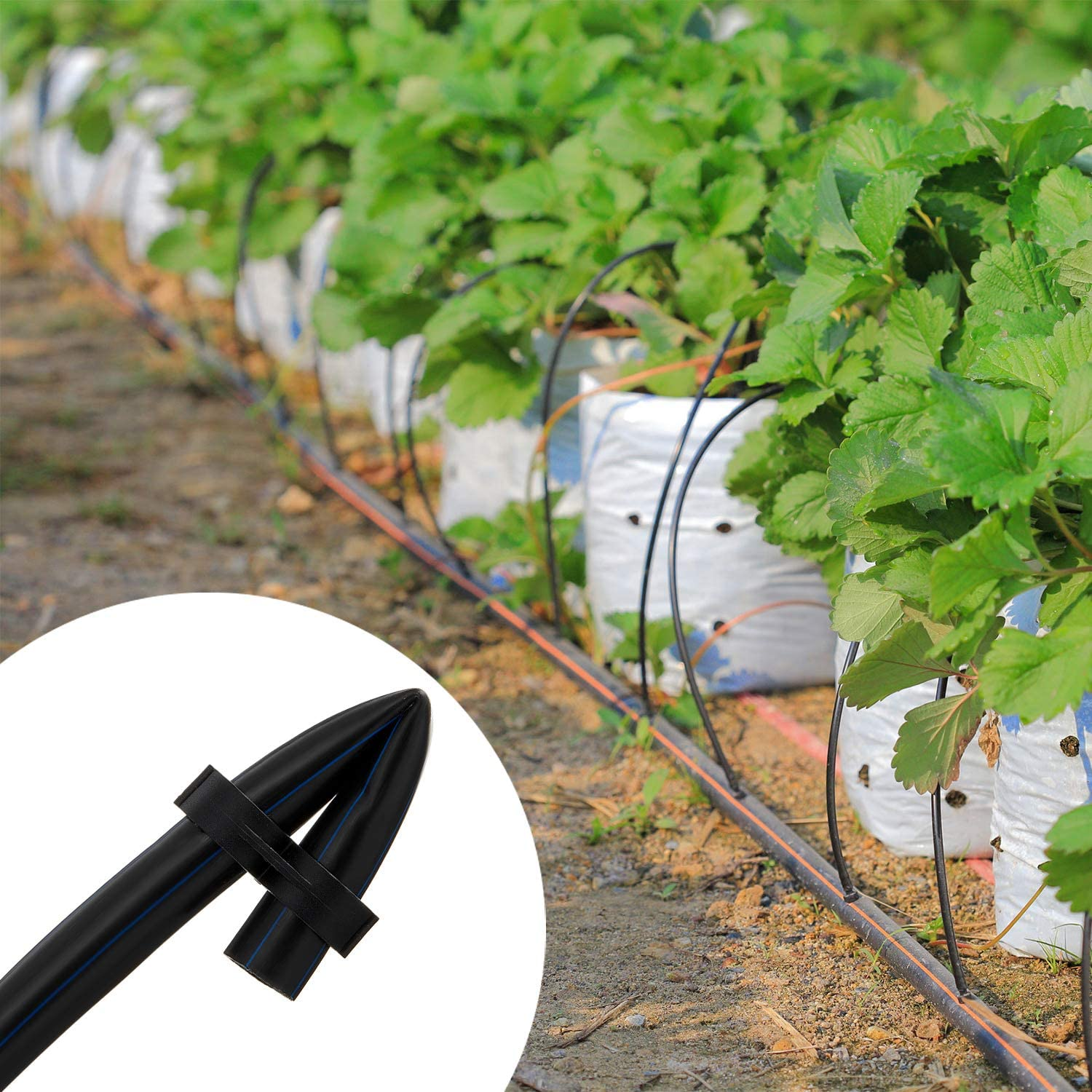 for Garden Greenhouse 17mm Flower Bed Lawn Mudder 50 Pieces 1//2 Inch Drip Tubing End Irrigation Tubing End Cap Drip Irrigation Black Figure for 1//2 Inch Tubing 0.600 inch ID