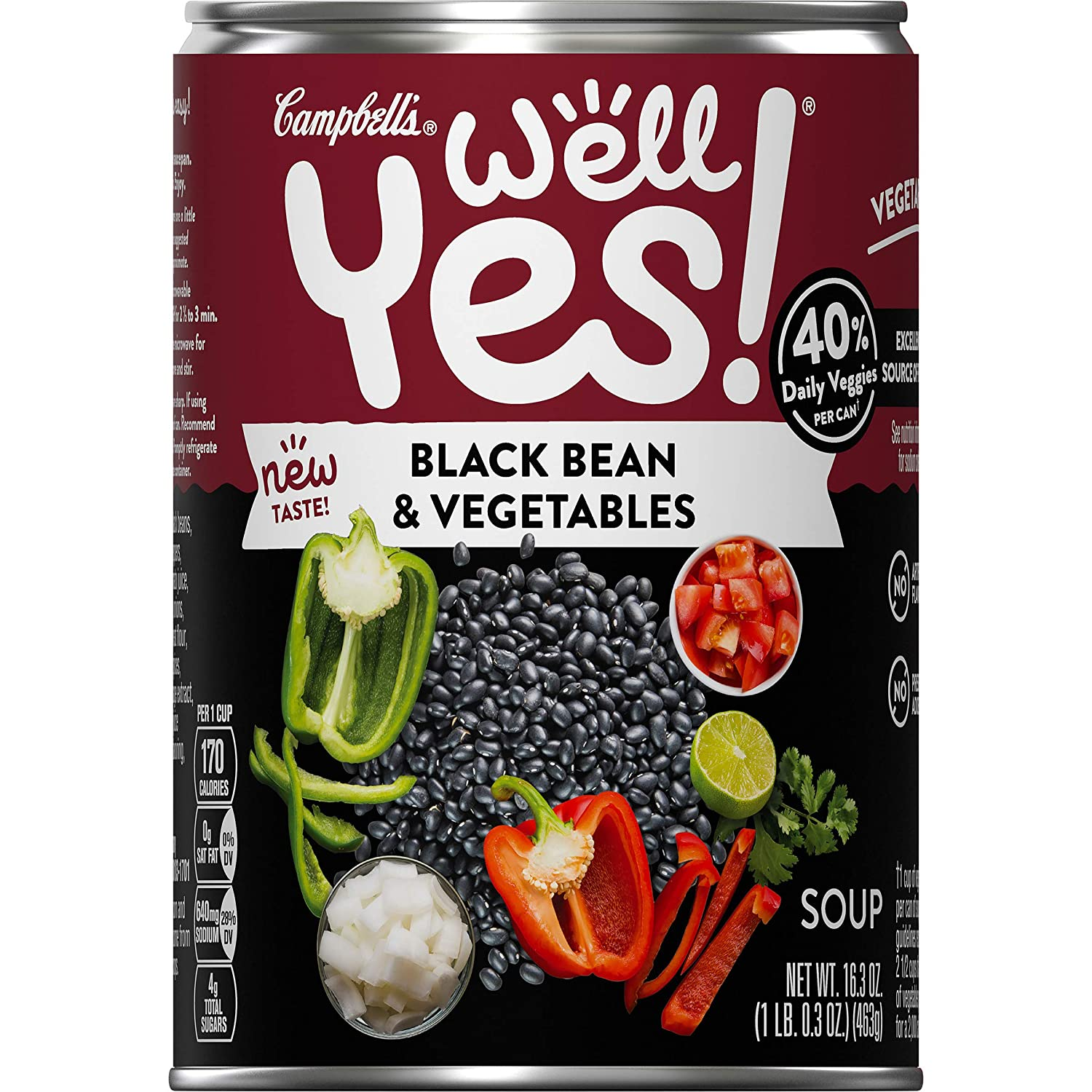 Campbell's Well Yes! Black Bean & Vegetables Soup, Vegetarian Soup, 16.3 Ounce Can (Pack of 12)
