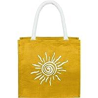 Neska Moda Unisex Turmeric Yellow Handheld Jute Bag Cum Lunch Bag Zip Closure Plastic Laminated Inside BG92