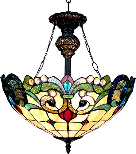 Chloe CH18767IV18-UH2 18 Shade Dulce Tiffany-Style 2 Light Victorian Inverted Ceiling Pendant