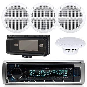"""Kenwood KMR-D368BT In-Dash Marine Audio Blutooth Receiver Bundle , 2 Pairs of Enrock Marine 6.5"""" Marine Hot Tub Outdoor Waterproof Speakers + Waterproof Receiver Shield Cover"""