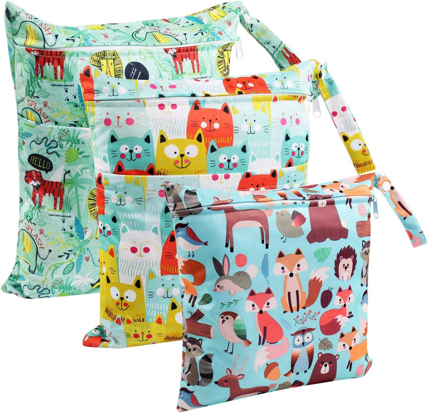 Bolsa de Pañales, BelleStyle 3 Pcs Reutilizable Wetbag, Impermeable Lavable con 2 Cremallera para Mamá de Bebé, Transpirable Portátil Organizador de Maquillaje de Colgar, Viajes, Playa, Piscina, Gym