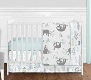 Sweet Jojo Designs Blue and Grey Jungle Sloth Leaf Baby Unisex Boy or Girl Nursery Crib Bedding Set Without Bumper - 4 Pieces - Turquoise, Gray and Green Tropical Botanical Rainforest