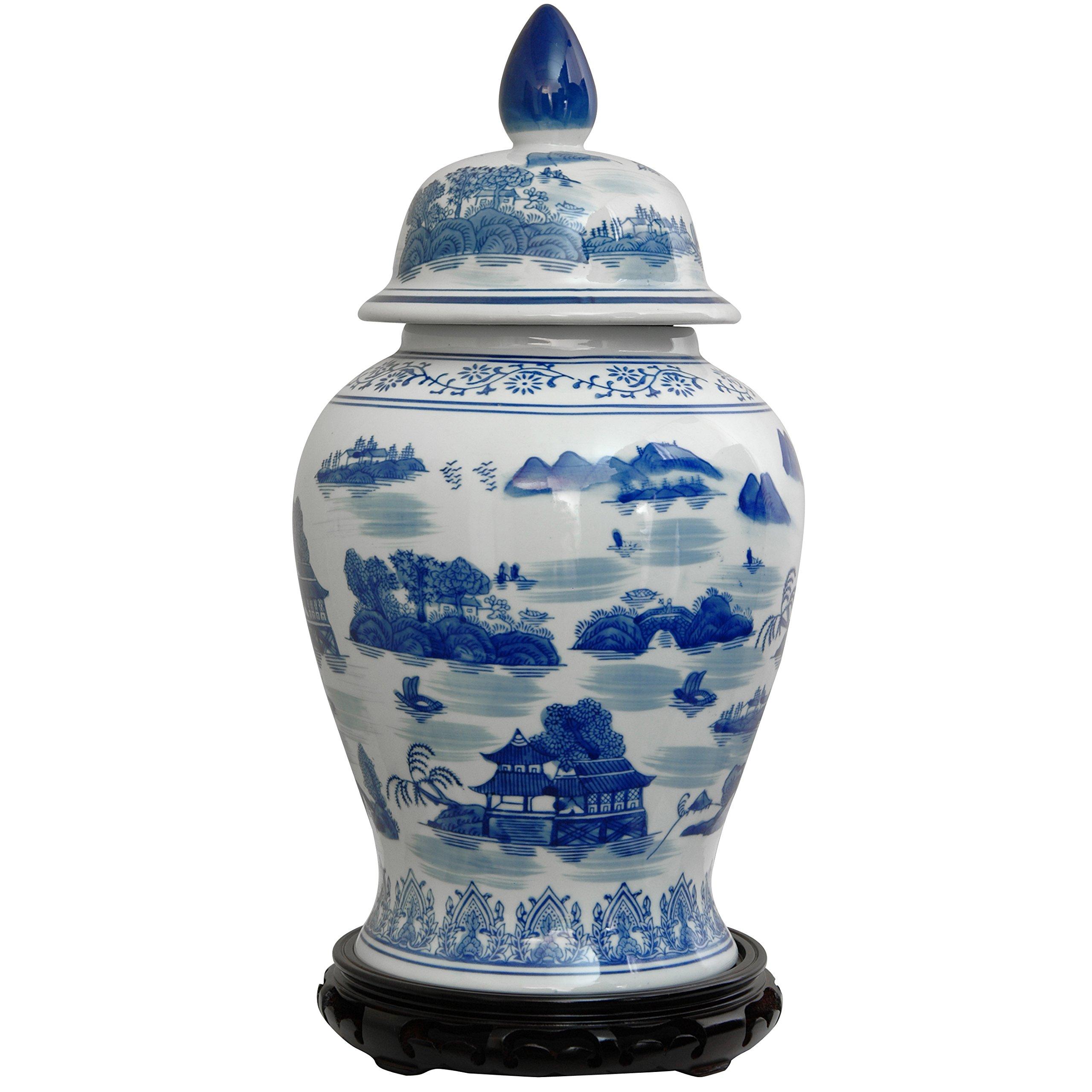 Oriental Furniture 18'' Landscape Blue & White Porcelain Temple Jar