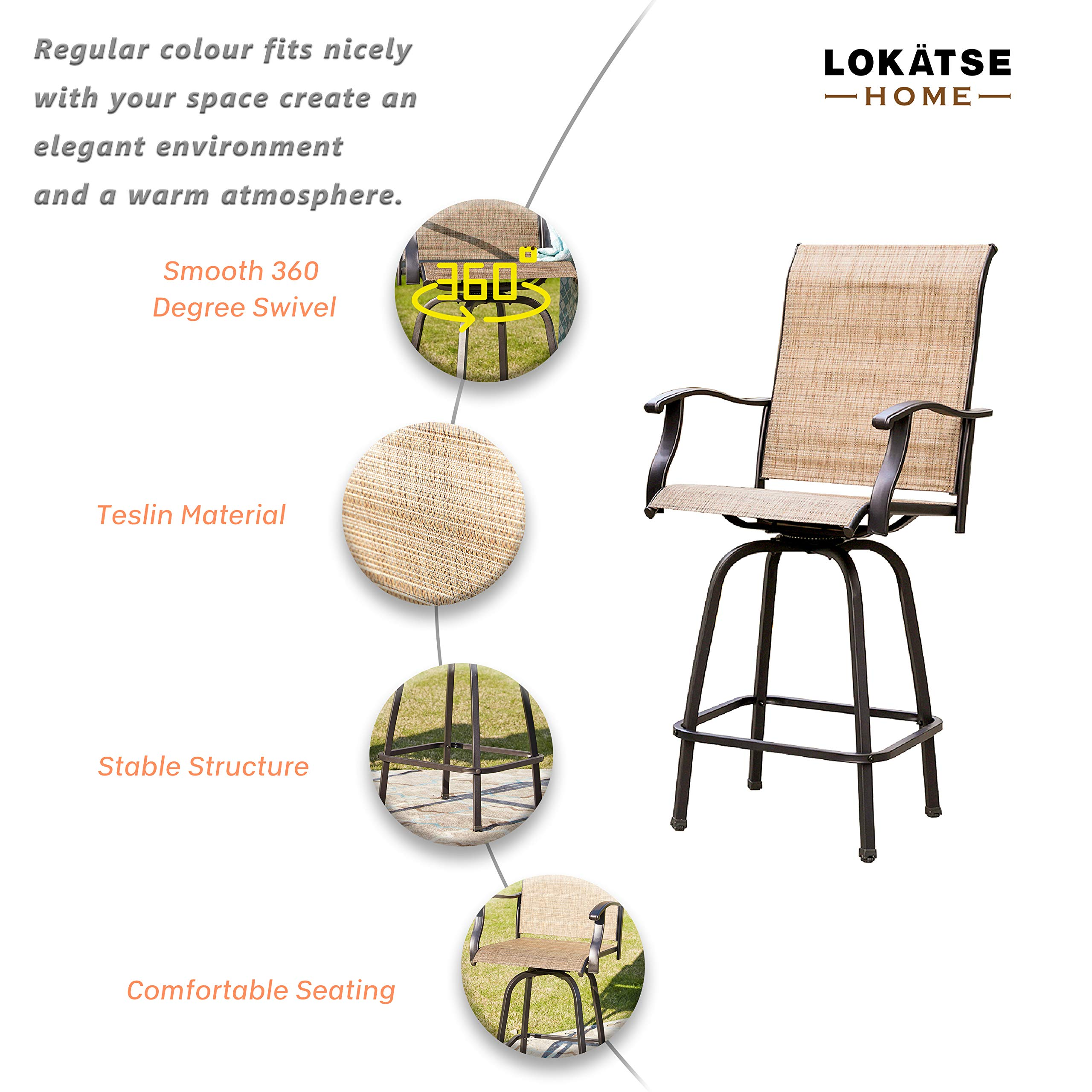 LOKATSE HOME 2 Piece Swivel Bar Stools Outdoor High Patio Chairs Furniture with All Weather Metal Frame, Beige-2chairs by LOKATSE HOME (Image #2)