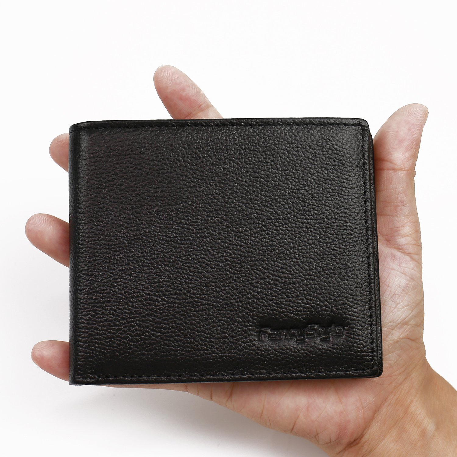 Men RFID Blocking Front Pocket Wallet Leather ID Protector Bifold Slim Black