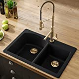 "Kraus Forteza 33"" Drop-In/Undermount Granite 60/40 Double Bowl Kitchen Sink - Black (KGD-50BLACK)"