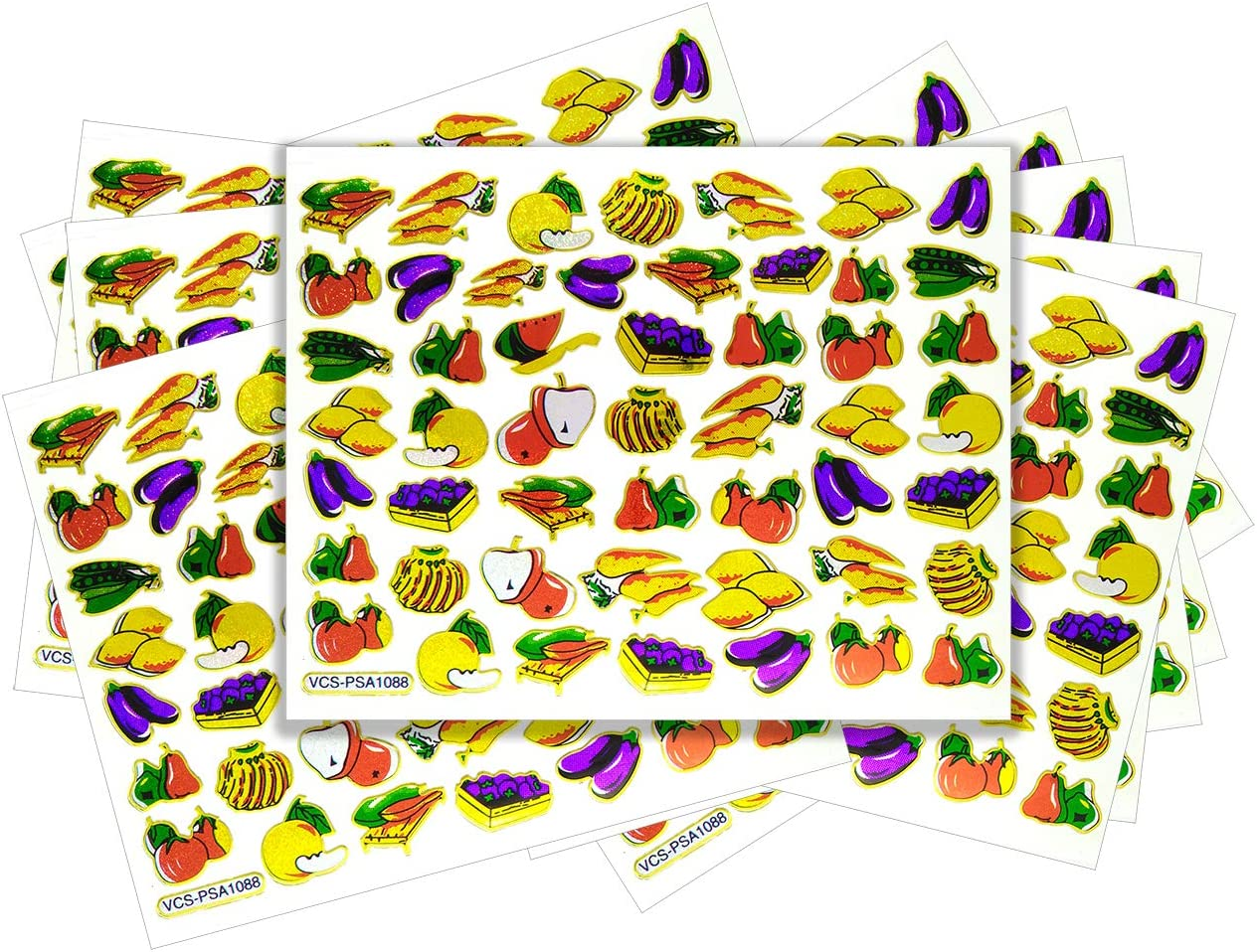 Veggie - 10 Sheets Fresh Fruit and Vegetable Self-Adhesive Glitter Metallic Foil Reflective Sticker Decorative Scrapbook for Kid, Birthday Party, Photo, Card, Diary, Album