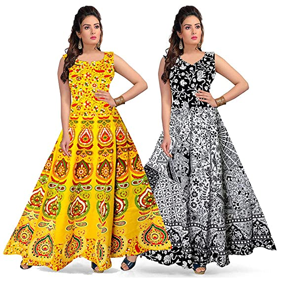 classic choose authentic new images of jwf Long Cotton Maxi Gown for Women Girls Combo Pack of 2 ...