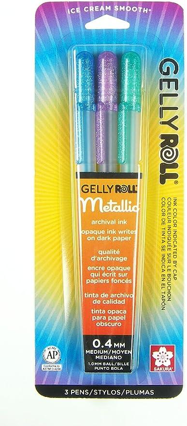 Gelly Roll Medium Point Metallic Pen 1 Dozen Blue//Black