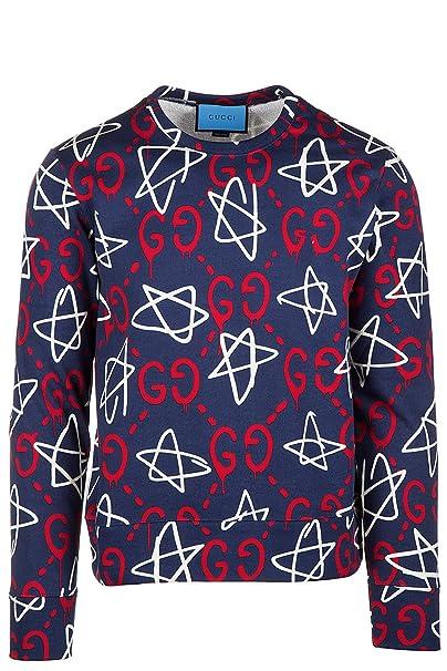 gucci uomo abbigliamento originale  Gucci Felpa Uomo Originale Guccighost Blu: : Abbigliamento