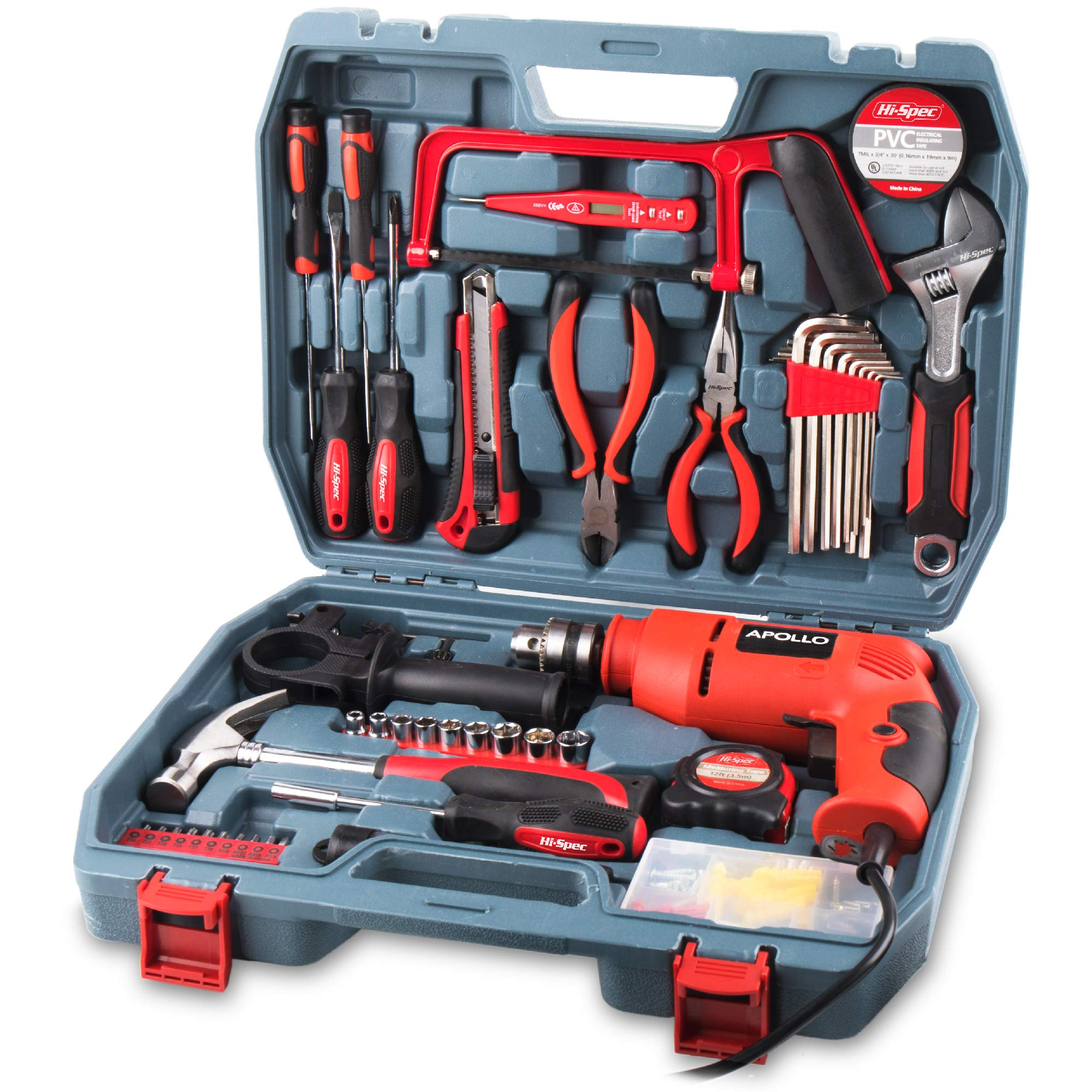 Hi-Spec Complete 130pc 110V 300W Hammer Power Drill & Hand Tool Set Combo Kit with Hacksaw, Pliers, Claw-Hammer, Wrench, Box Cutter, Hex Keys, Screwdrivers, Socket and Driver Bits, Voltage Tester Case by Hi-Spec (Image #1)