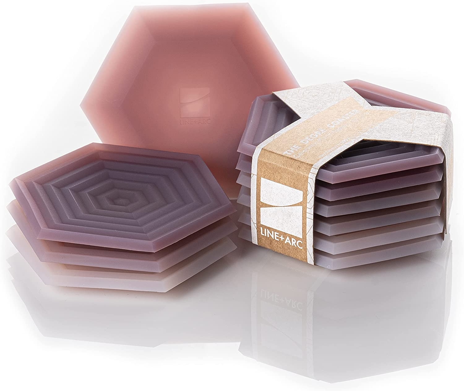 Set of 6 Degrē Coasters (Plum Medley) by LINE+ARC. 10mm Thick, Dishwasher Safe, Stain-Resistant, Outdoor, Coffee Table, Silicone, Modern, Hexagon, Mid Century, Cup, Drink, Non-Absorbent, Housewarming