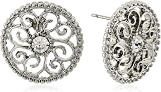 product image for 1928 Jewelry Womens Silver-Tone Crystal Round Button Stud Earrings, Clear, 1