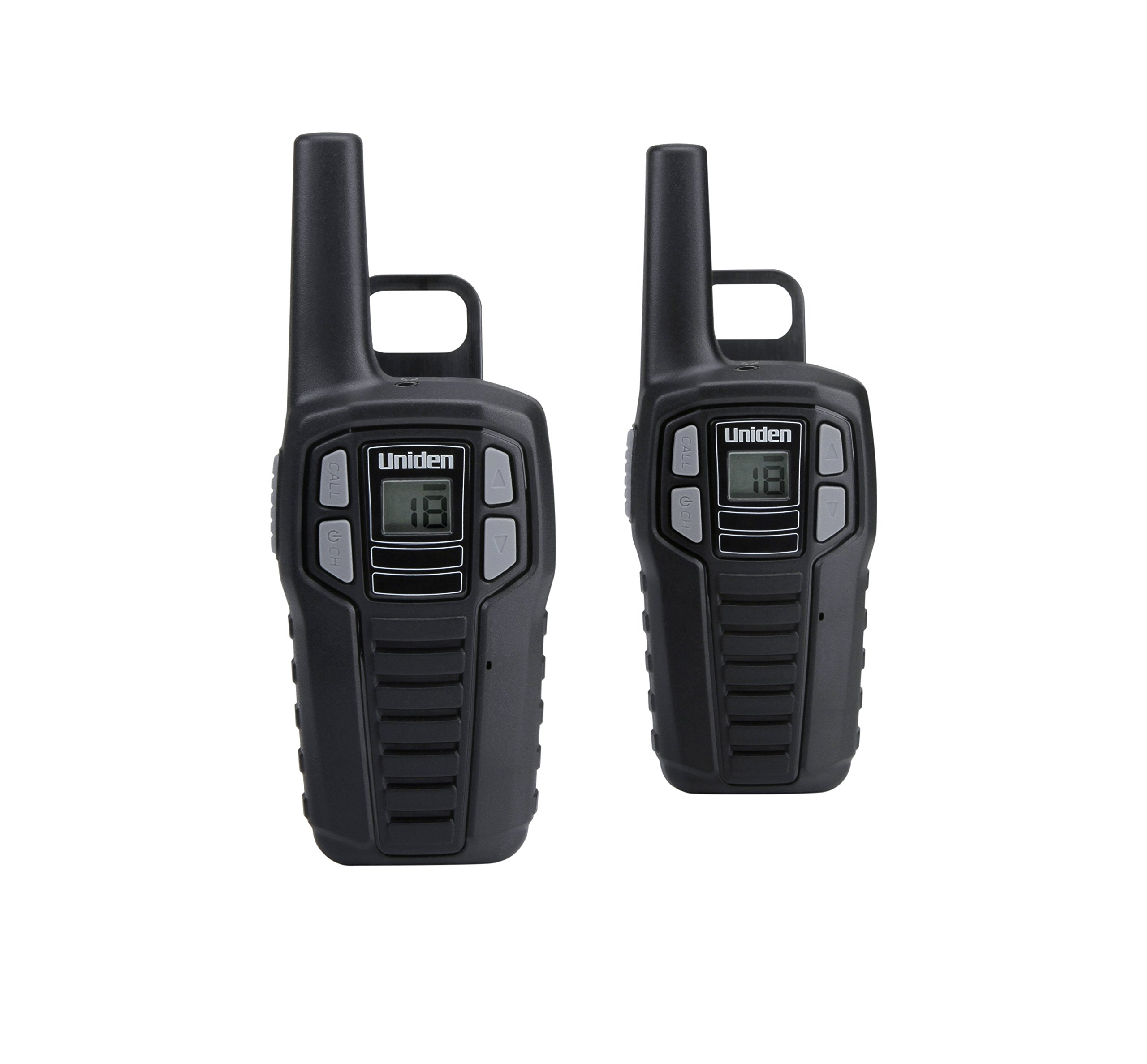 Uniden SX167-2CH 16 Mile FRS/GMRS Two-Way Radios with Convenient Charging Kit. NOAA Weather, 2-Pack - Black Color