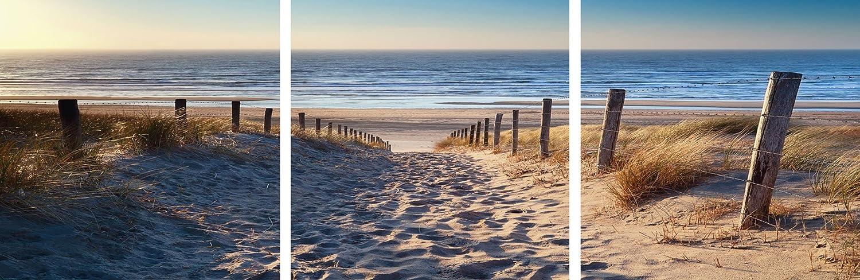 Artland Qualitätsbilder I Glasbilder Deko Glas Bilder 150 x 50 cm mehrteilig Landschaften Strand Foto Creme C0ZD Weg Nordseestrand Sonnenuntergang