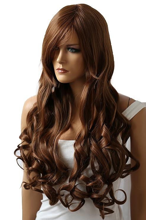 PRETTYSHOP Peluca de pelo largo rizado de fibra sintética resistente al calor marrón CP7