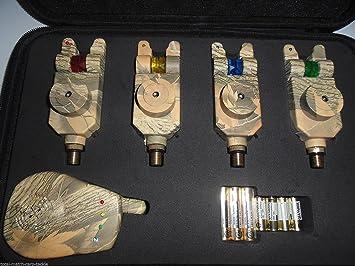 TMC - Juego de 4 alarmas de pesca electrónicas inalámbricas ...