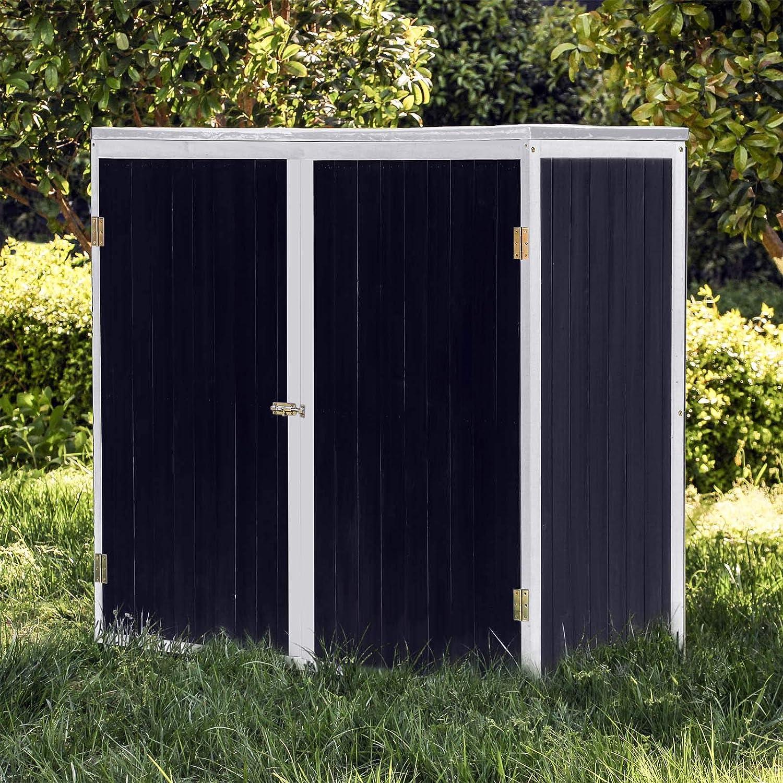 Caseta de jardín Antracita Doble puerta Caseta para herramientas y aperos Cobertizo Armario de jardín: Amazon.es: Jardín